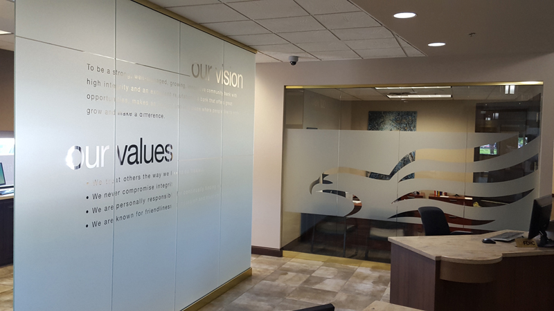 River Centre branch Vision & Values signage