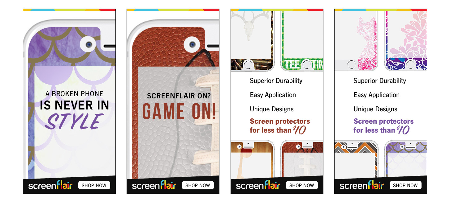 screenshots of screenflair ads