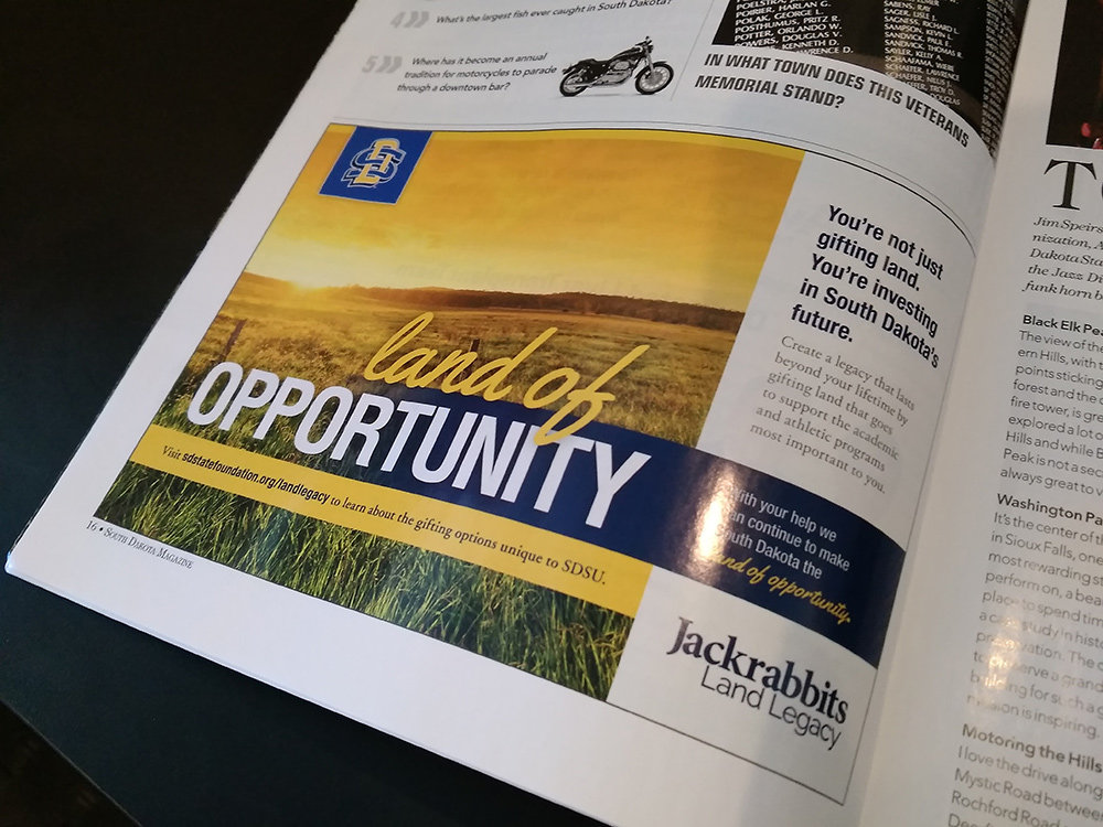 SDSU Foundation Ad placed in South Dakota magazine