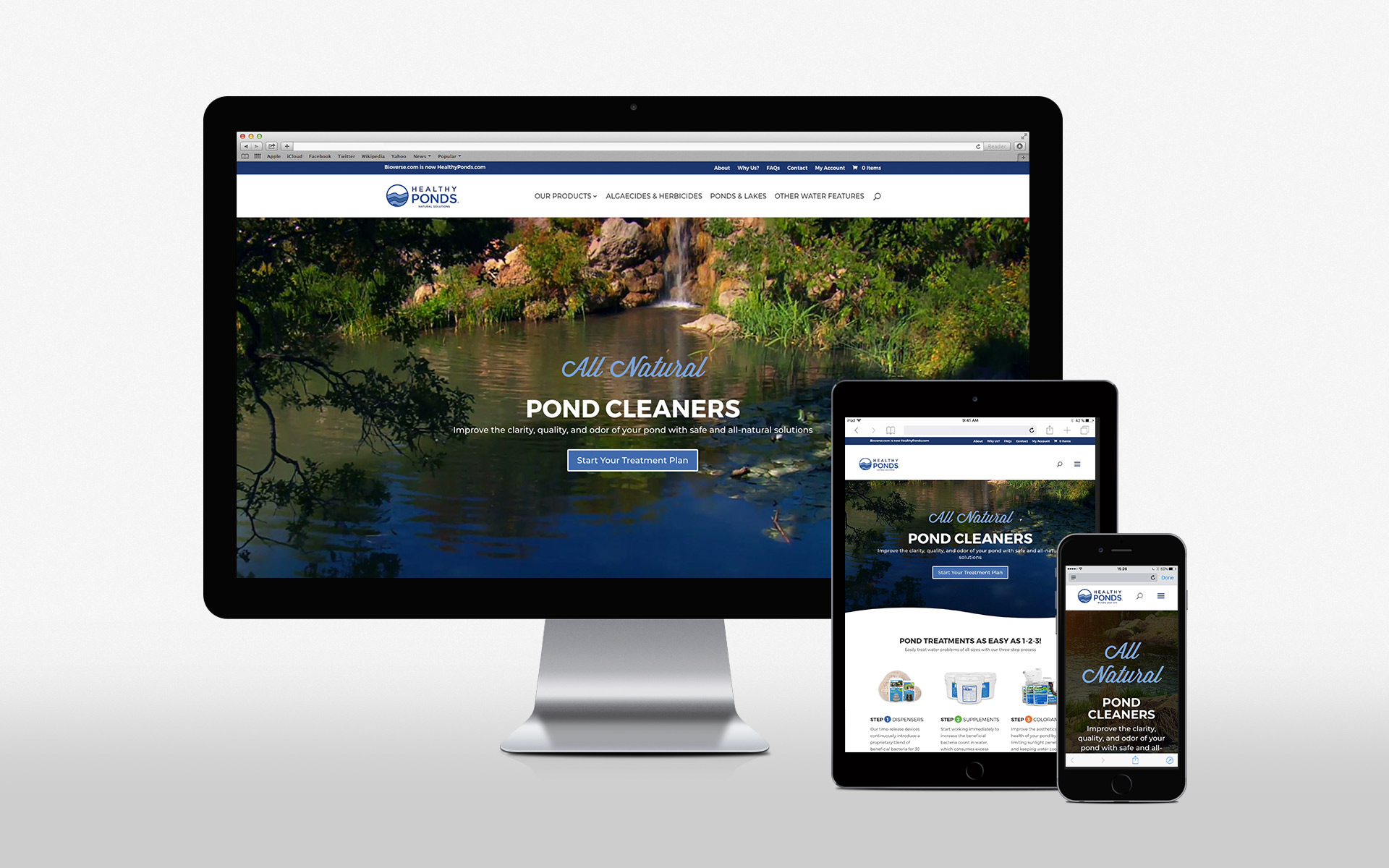 healthyponds website on various devices