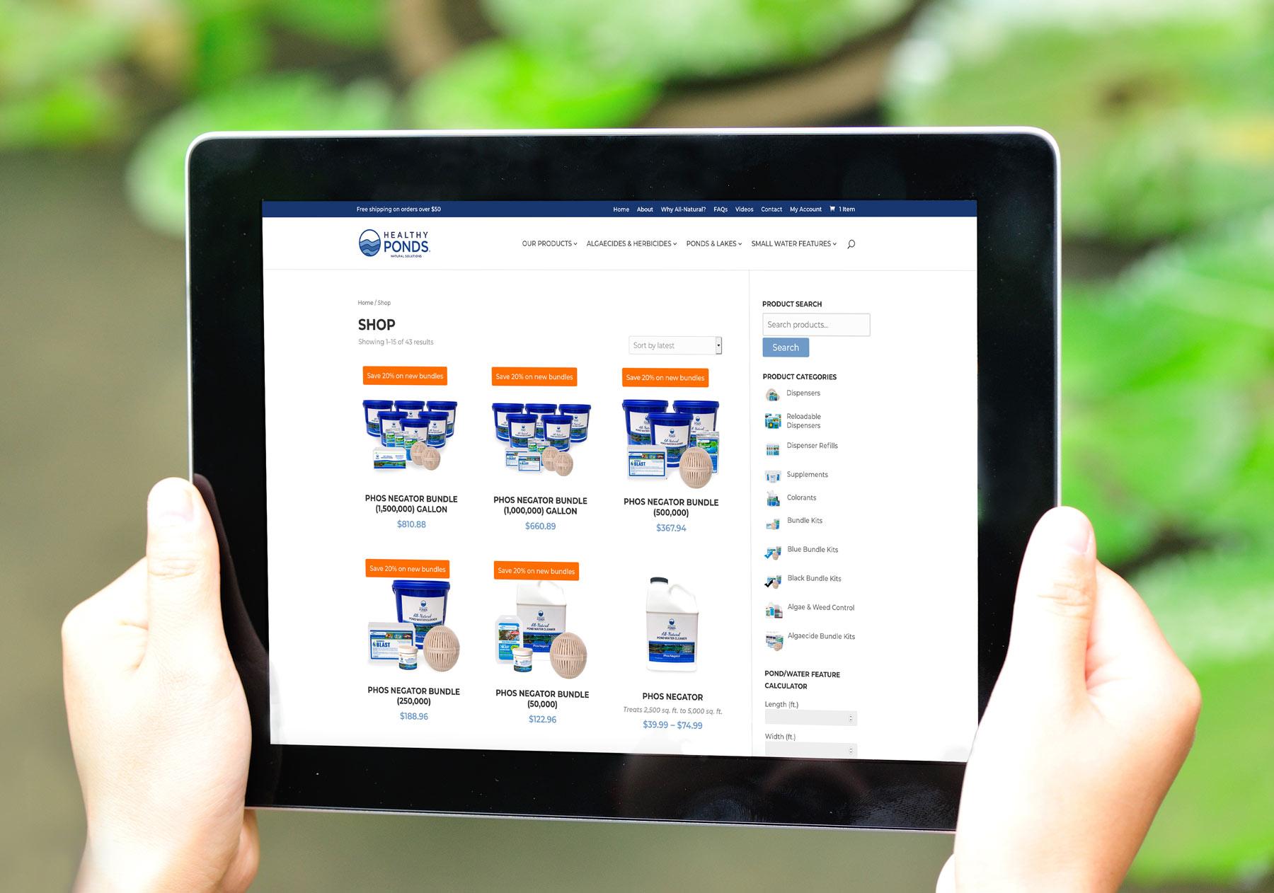 healthyponds website on tablet