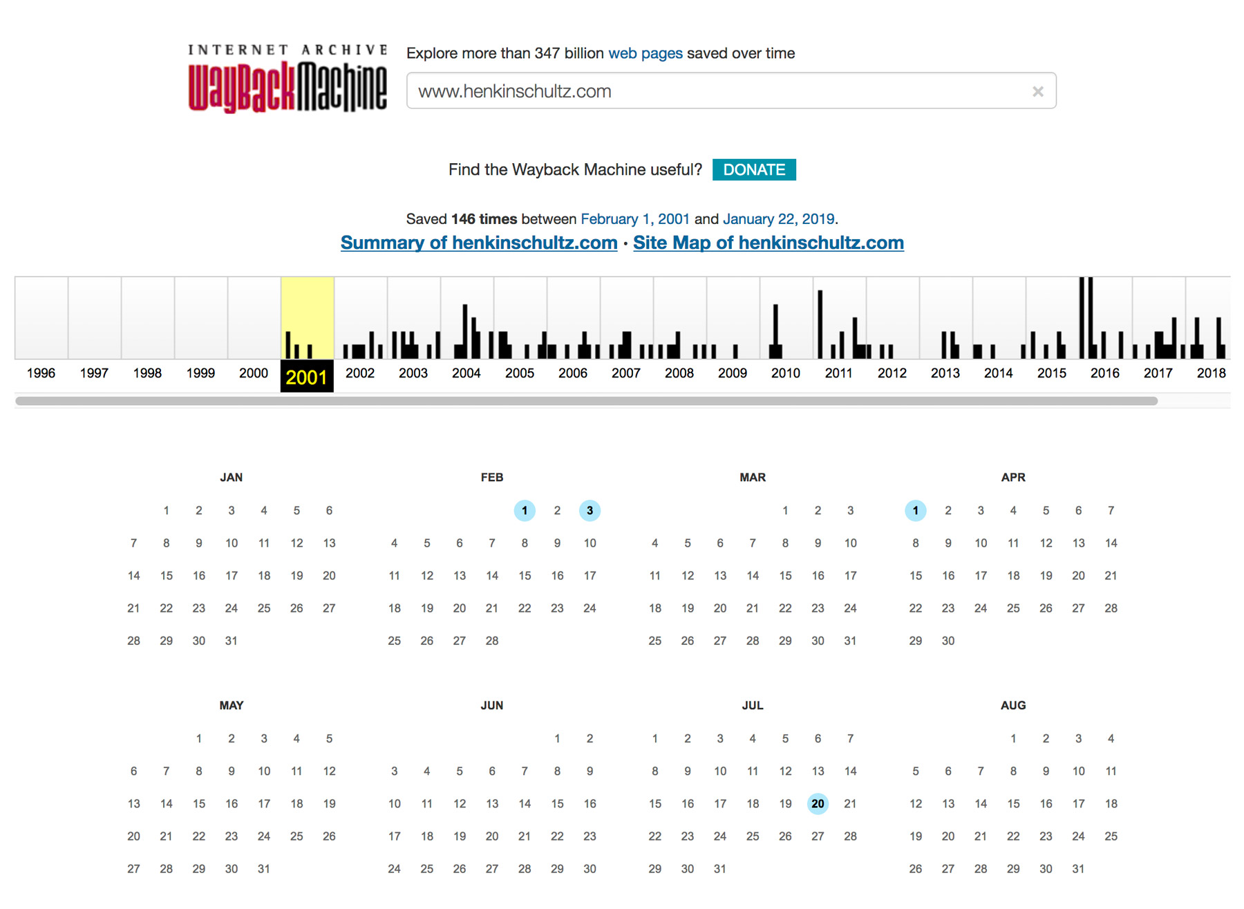calendar indicating backups on Wayback Machine