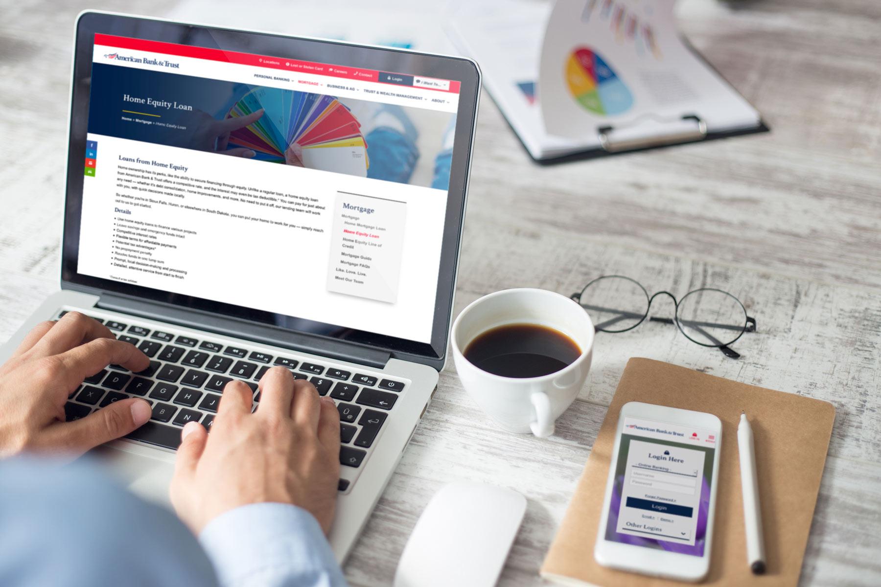 bank website on computer