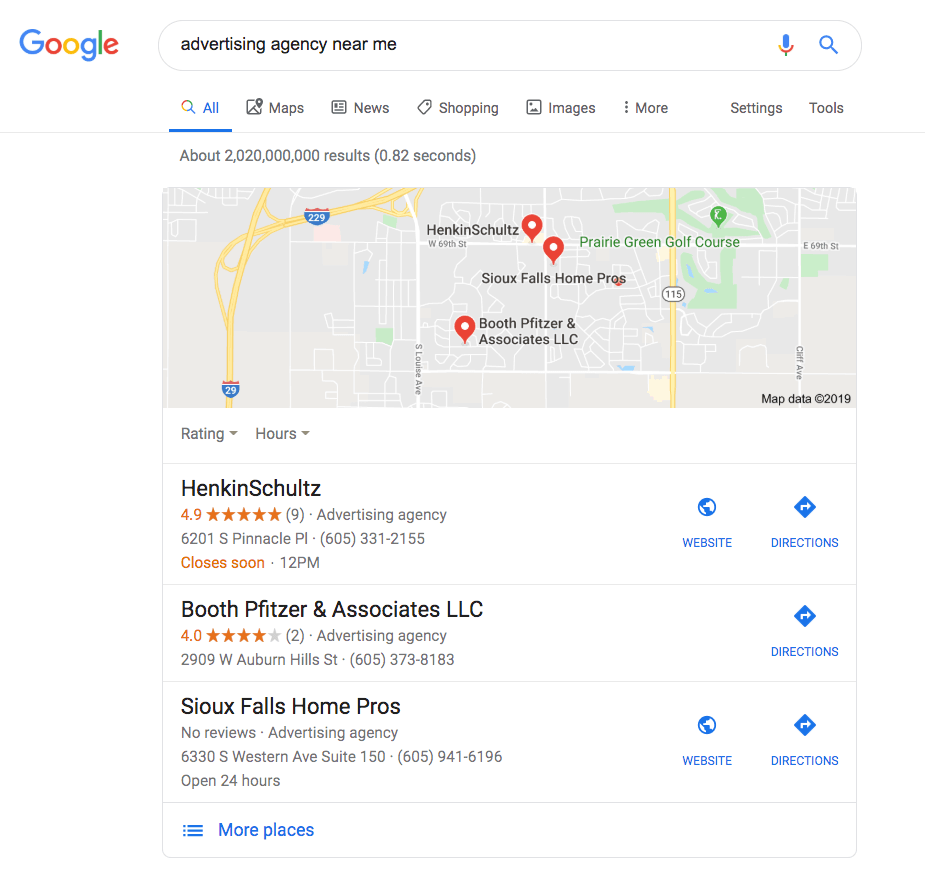 advertising agency near me local pack