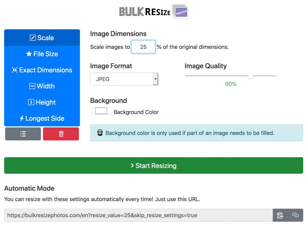 bulk resizing