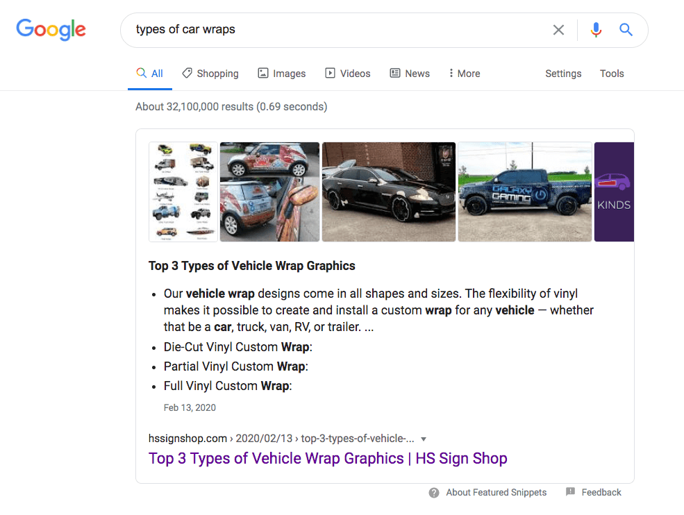 HS Sign Shop Featured Snippet on Google Search