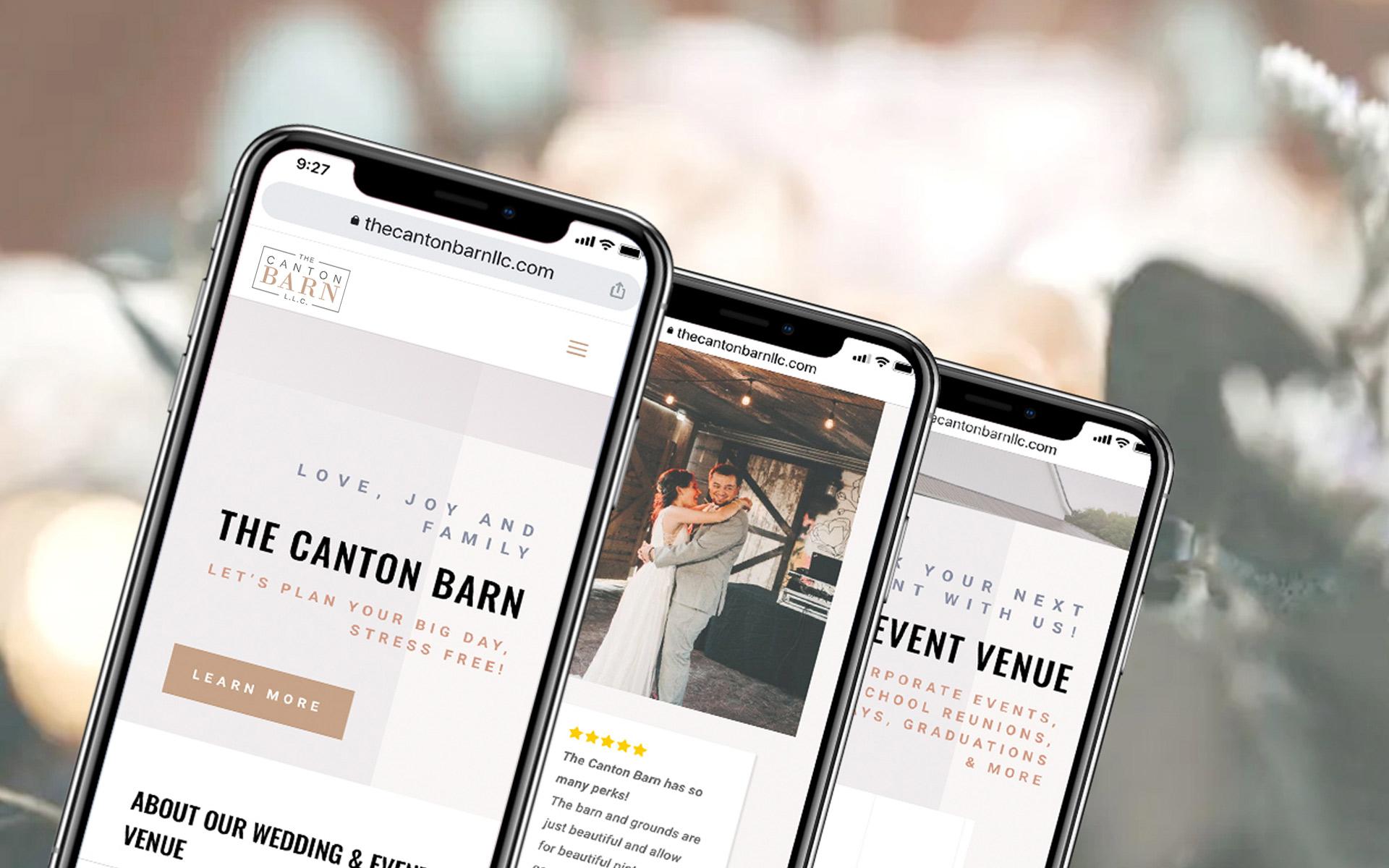 The Canton Barn website on phones