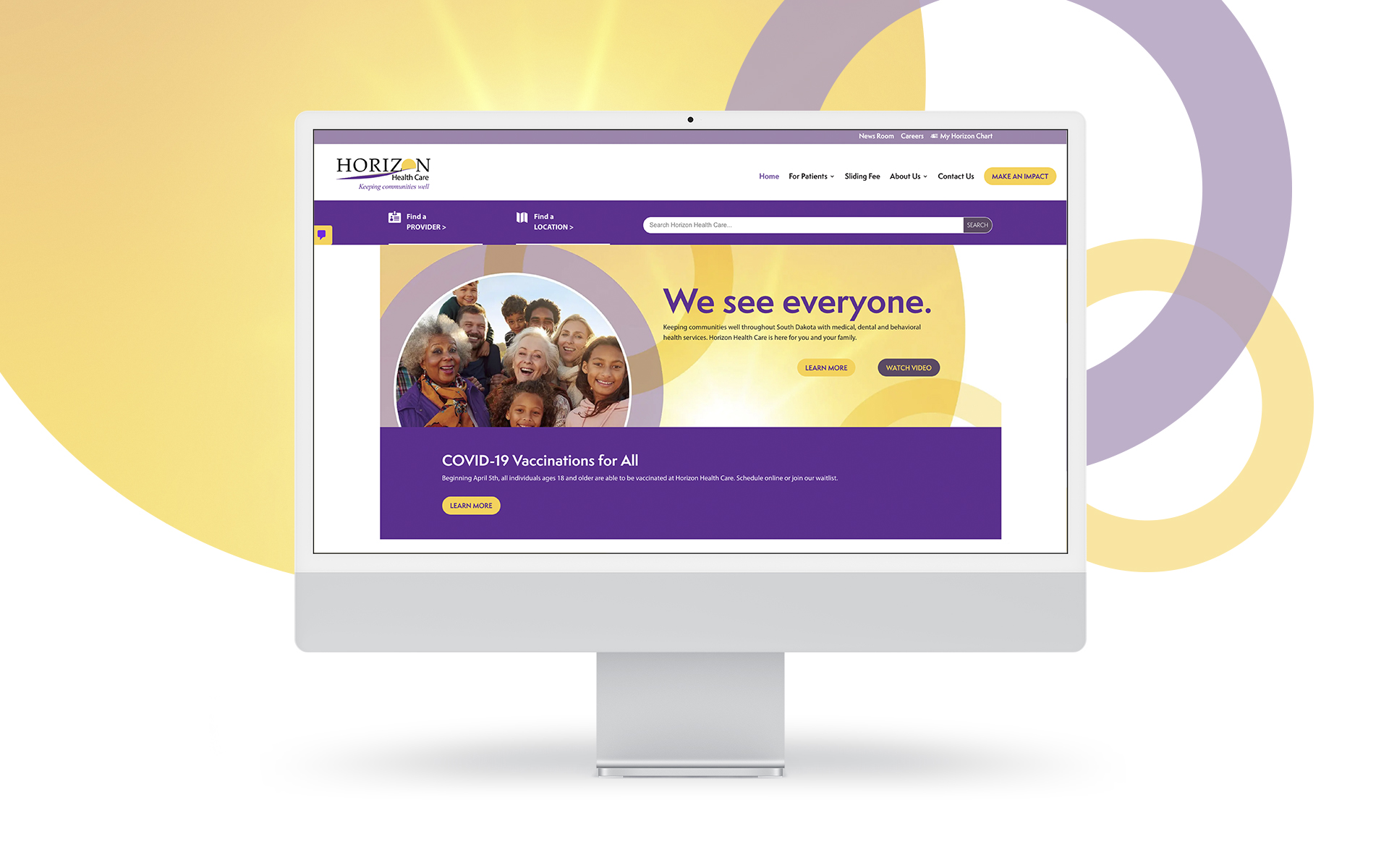 Horizon Healthcare website on desktop