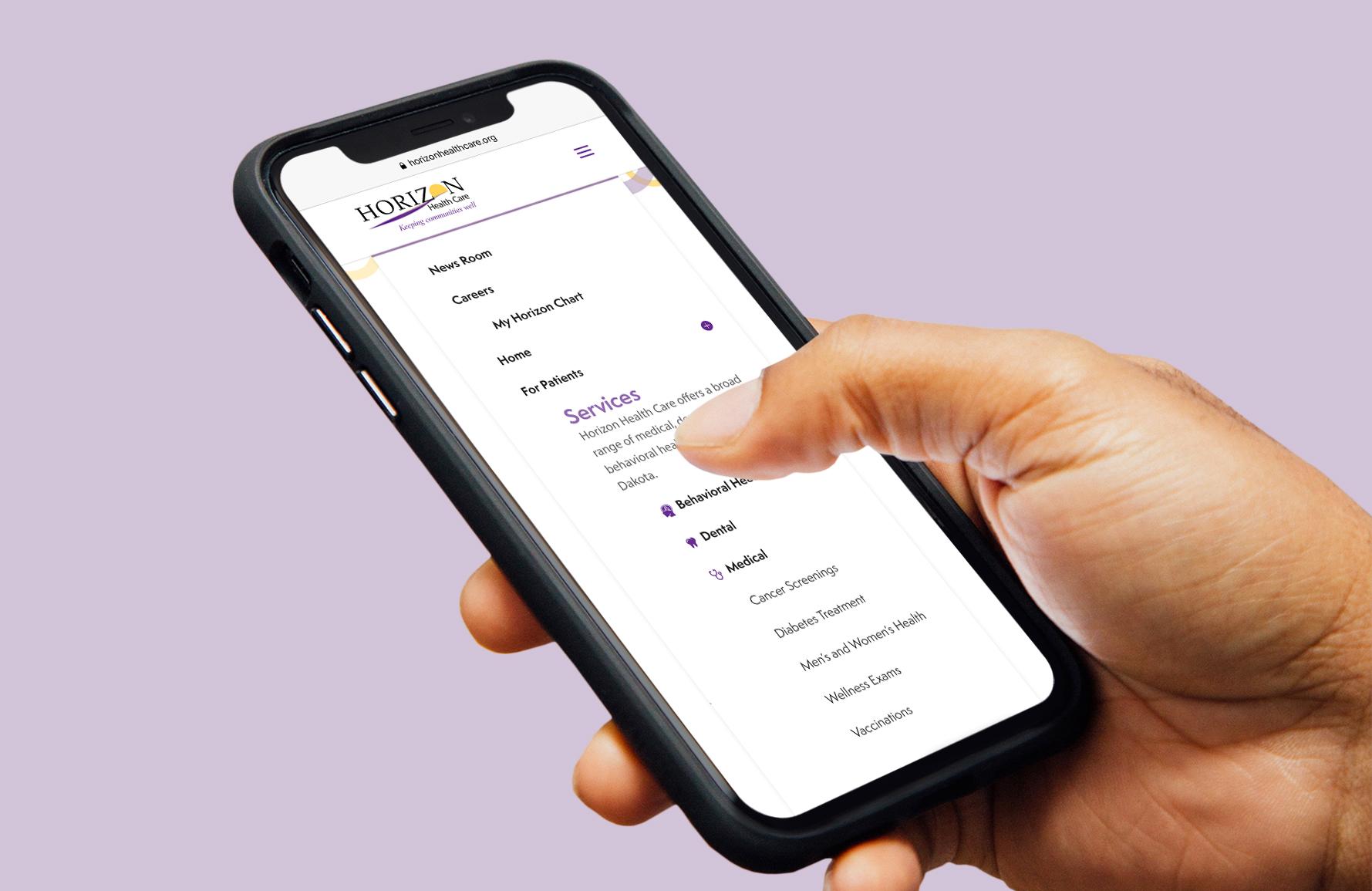 Horizon Healthcare website on phone
